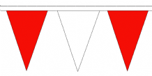 Red and White Traditional 20m 54 Flag Polyester Triangule Flag Bunting
